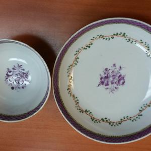 联盟 ck595乾隆外销紫红釉花卉套杯