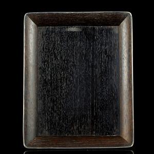 5清代镶银口紫檀方盘