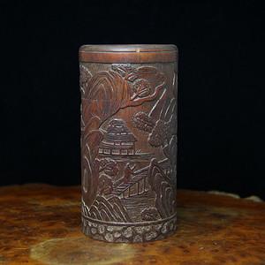 13清竹雕山水纹茶罐
