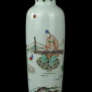 21清五彩抚琴图纹筒瓶