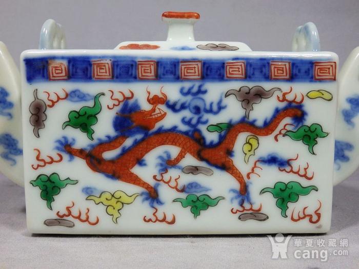 清代青花加彩龙凤呈祥绘画双头壶,图4