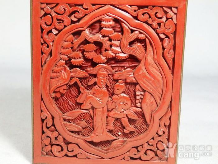 清代锡红人物雕刻四方盖盒图6