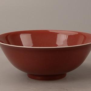 欧洲回流红釉碗