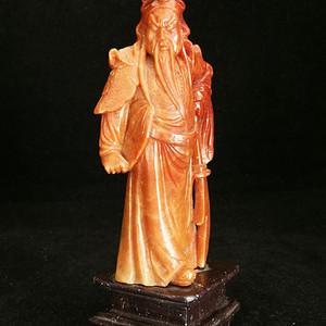 品出口创汇时期老坑红寿山石雕关公摆件