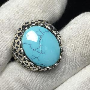 原矿无优化湖北高瓷高蓝绿松石戒指