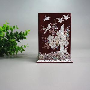 彩贝镶嵌实木笔筒