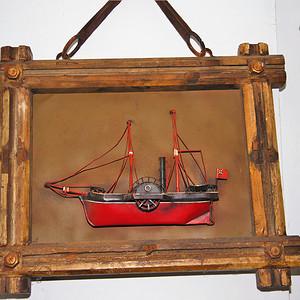 欧洲十八世纪的汽船模型木框金属材质 少见品牛皮带