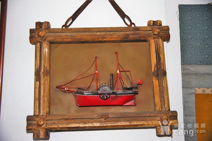 欧洲十八世纪的汽船模型木框金属材质 少见品牛皮带图1