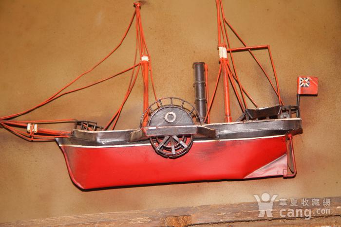 欧洲十八世纪的汽船模型木框金属材质 少见品牛皮带图6