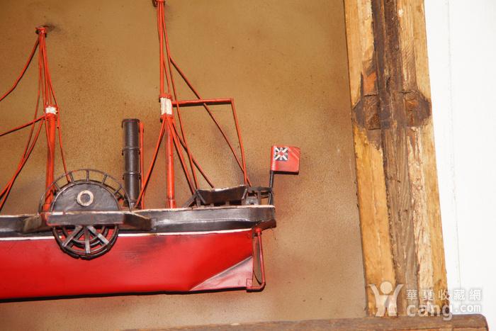 欧洲十八世纪的汽船模型木框金属材质 少见品牛皮带图4
