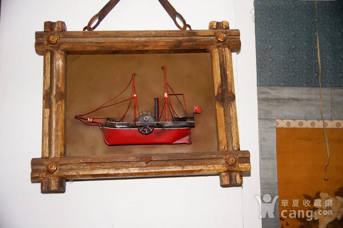 欧洲十八世纪的汽船模型木框金属材质 少见品牛皮带图2
