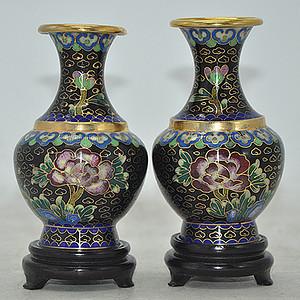 景泰蓝小花瓶一对