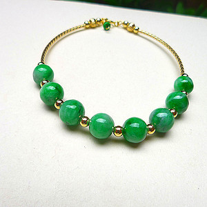 金牌 自然光实拍!天然A货翡翠老坑水润满绿圆珠手镯14k金