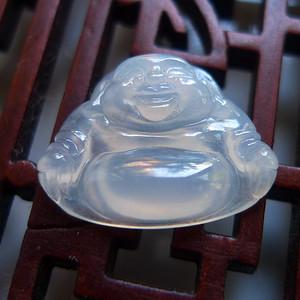 A货翡翠冰种佛公镶件0.87g
