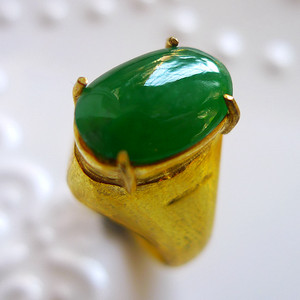 A货翡翠冰糯种铜托戒指6.30g