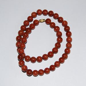 金牌  天然 金星石圆珠项链 v1