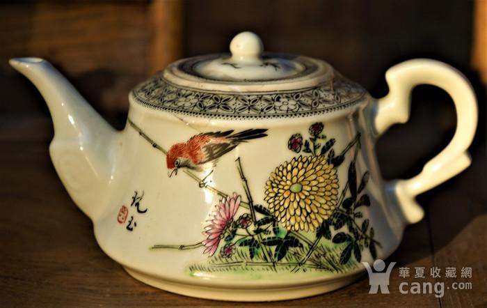 回流的一把民国时期花鸟白瓷壶 雅雨堂 款图1