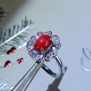 金牌 天然红珊瑚戒指