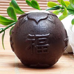 11 越南红土沉香健身球精雕福如东海寿比南山手把件