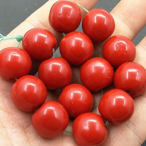 精品牛血红琉璃珠