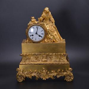 金牌 十九世纪 法国 贵妇 铜鎏金座钟
