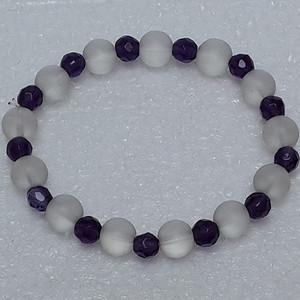 54 白水晶紫水晶手串 0.8MM