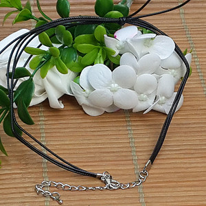 15 韩国蝴蝶结黑玛瑙项链,活接头镀银。