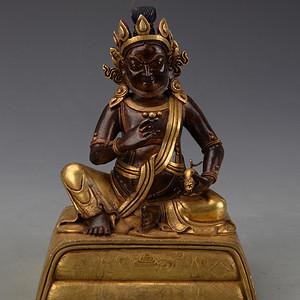 欧洲回流铜鎏金黄财神