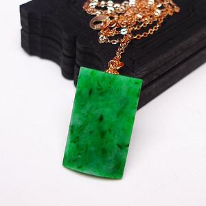 金牌冰润满绿镶嵌18K金项链平安牌挂件