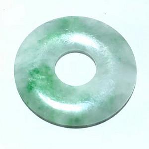 清 冰种 带 阳绿 平安扣 色泽艳丽 水头荧光很好 种细 佩戴上档次