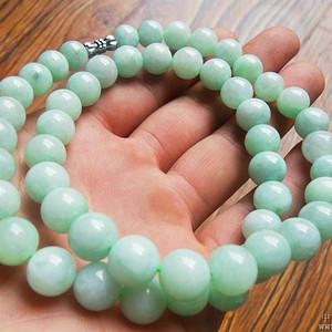 翡翠A货 豆绿水润女士高贵大珠项链