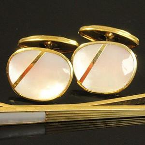 金牌 欧洲老首饰 贝母镀金袖扣领带夹三件14.5g 绅士风范服装饰品