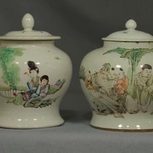 民国瓷绘大师粉彩浅绛人物纹罐两个