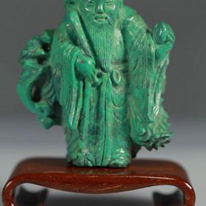 清 绿松石雕寿星老人摆件