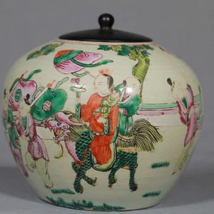 清同治粉彩麒麟送子纹西瓜罐