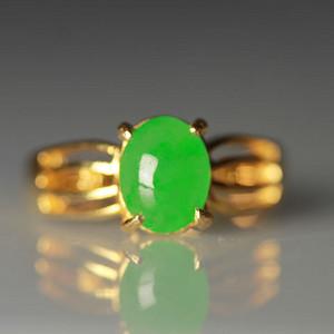 18K金满绿冰种翡翠戒指