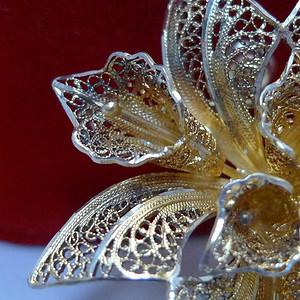 金牌 欧式银掐丝鎏金胸针