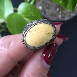 8003老银花丝嵌戒指