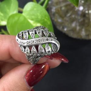 8023老银嵌铁矿石戒指