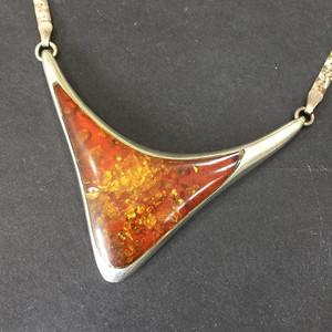 8070欧洲老银嵌花珀颈链