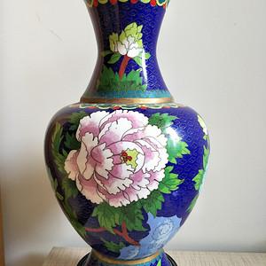 珍藏品 国营老厂掐丝珐琅花瓶摆件