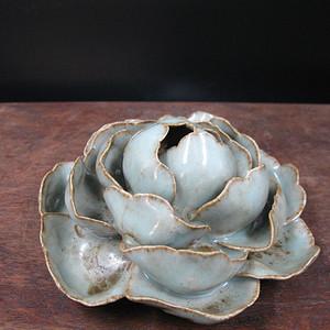 清代 青釉牡丹花一枝香盘