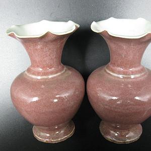 明代 红釉花瓶一对