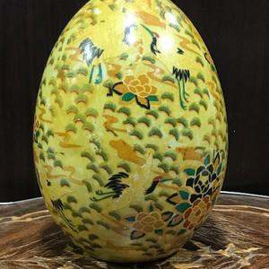 100133 鹤纹瓷蛋