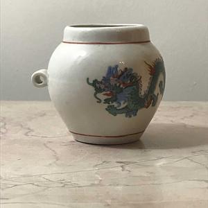 100136 粉彩龙纹鸟食罐