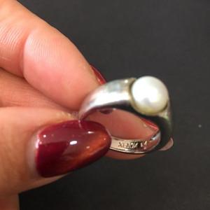 8085欧洲回流银嵌珍珠戒指