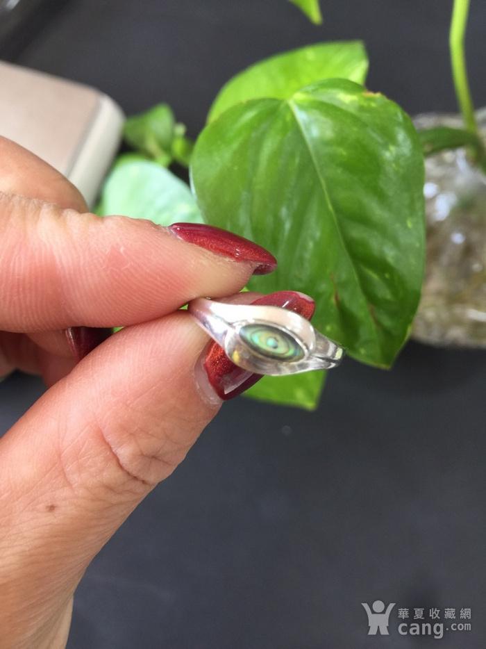 8095欧洲回流银嵌螺钿戒指图1