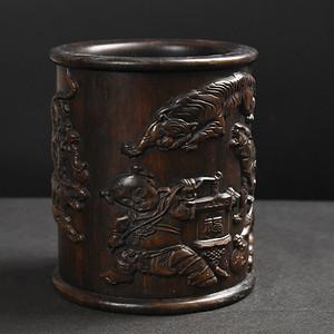 旧藏非洲硬木笔筒