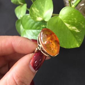 8105欧洲回流老银鎏金嵌琥珀戒指