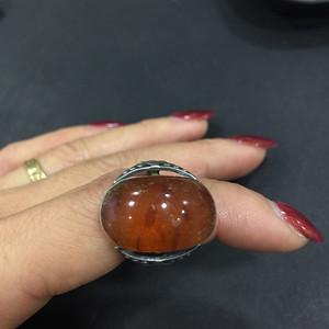 8123俄罗斯老银嵌琥珀戒指